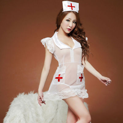 Krankenschwestern Uniform Fancy Dress (Frauen Krankenschwester Uniform Kostüm Dessous Cosplay Fancy Dress Nachtwäsche)