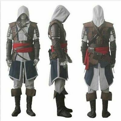 Assassin's Creed 4 Black Flag Edward Kenway Cosplay Gray Outfit Costume Suit Set - Assassin's Creed 4 Outfits