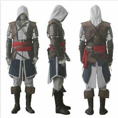 Assassin's Creed 4 Black Flag Edward Kenway Cosplay Gray Outfit Costume Suit Set - Edward Kenway Cosplay