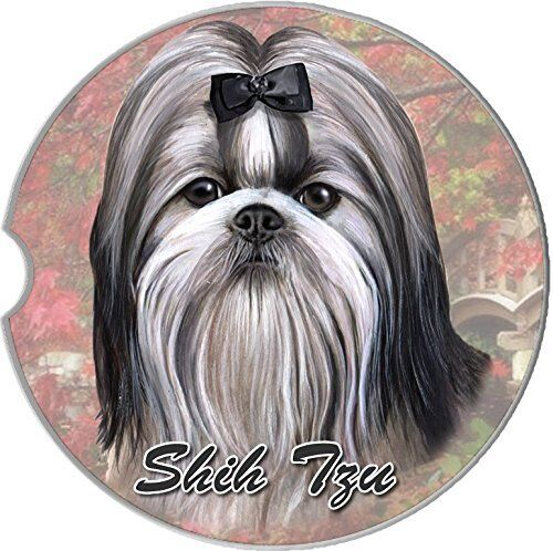 Shih Tzu Car Coaster Absorbent Keep Cup Holder Dry Stoneware New Dog Bow Blk Wh