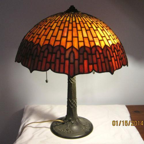 Antique Leaded Glass Lamp Ebay