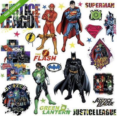 Cheap Decorative Lanterns (JUSTICE LEAGUE wall stickers 28 decals Superman Batman Flash Green Lantern)