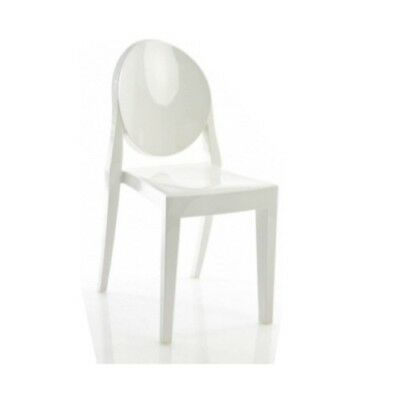 Philippe Starck inspired Milk White Ghost side chairs