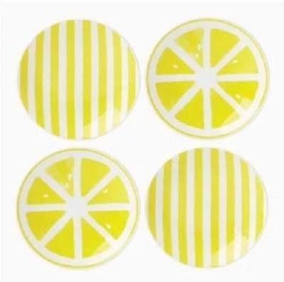 Set of 4 ~ LENOX KATE SPADE ~ With A Twist Lemons ~ Tidbit Dessert Plates  NIB