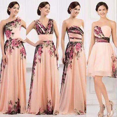 Lang Floral Chiffon Abendkleid Ballkleid Maxikleid Blumenprint Kleid 34-42 BC263 Floral Print Chiffon Kleid