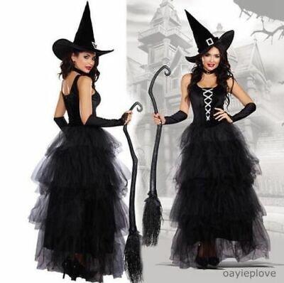 Halloween Damen schwarzes Hexenkostüm Hut Frauen Hexen Fantasievolle Kleidung - Schwarze Damen Kostüm