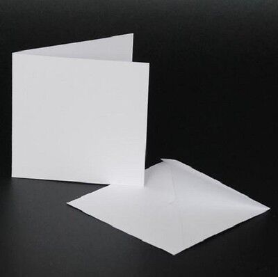 "Craft UK blank greeting cards & envelopes square 4"" x 4 inch white colour x 50"