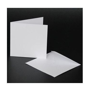 "50 x 4"" x 4"" WHITE BLANK CARDS 250gsm & ENVELOPES 100gsm CARD MAKING CRAFT 996"