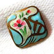 Antique Champleve Enamel Button