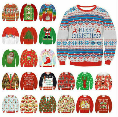 Mens Womens UGLY Christmas Sweater Hoodies Knitted Pullover Top Xmas Sweatshirt](Ugly Christmas Sweater Women)