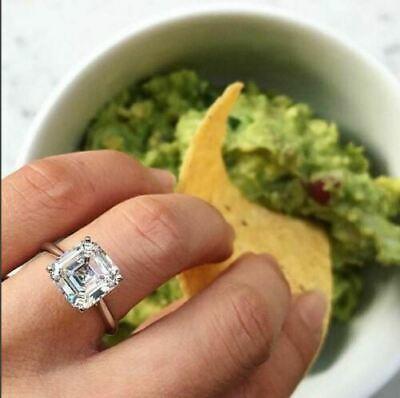 2Ct Asscher Cut Moissanite Diamond Solitary Engagement Ring