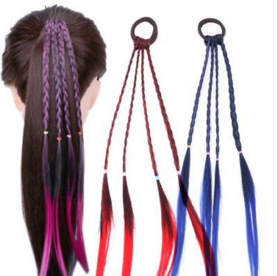 Headband Girls Twist Braid Rope Simple Rubber Band Hair Kids Handmade Wig Gift
