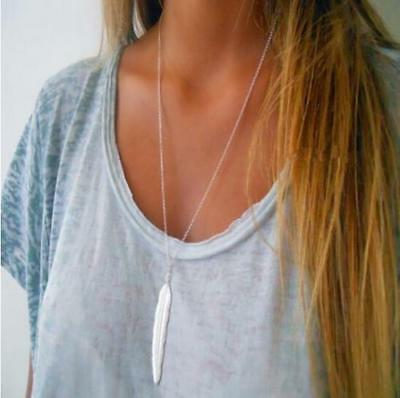 NEW! Silver Long Simple Minimalist Layering Boho Feather Pendant Necklace USA