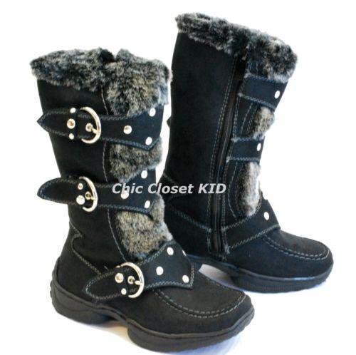Girls Fur Boots Size 1 Ebay