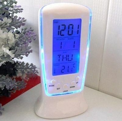 LED Digital Alarm Clock Blue Backlight Desktop ...