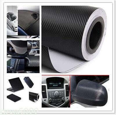 "20""x 50"" Black 3D Carbon Fiber Vinyl Car DIY Wrap Sheet Roll Film Sticker Decal"