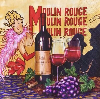 2 single paper napkins decoupage or collection Grape Bottle of Vino Moulin Rouge