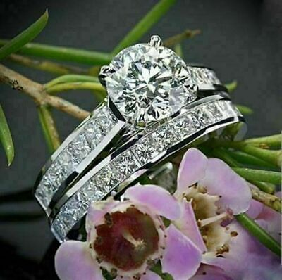 1.53 Ct Lab-Created Round White Diamond Engagement Ring Set 14k White Gold for sale  Shipping to South Africa