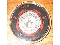 Bud Jones $1 Jockey Club Casino Chip Las Vegas 1983 Nevada