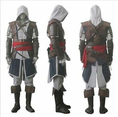 Assassin's Creed 4 Black Flag Edward Kenway Cosplay Gray Outfit Costume Suit Set - Assassin Creed Suits