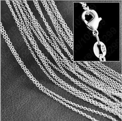 wholesale lots 5 Piece sterling silver Plated 1MM 18 Inch rolo chain necklace