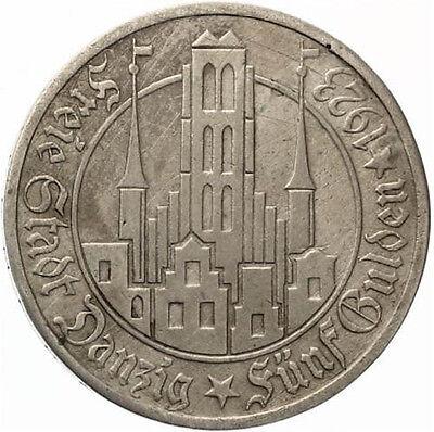 M979) J.D9 FREIE STADT DANZIG 5 Gulden 1923