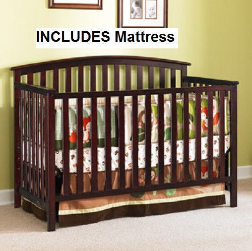 GRACO Convertible Crib 4-in-1 & BONUS Mattress Nursery Crib ASSORTED Colors NEW 1