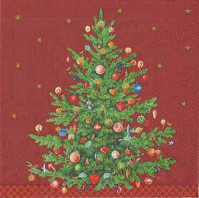 IHR Christmas Trimmed Tree Red 4 Single Napkins Decoupage