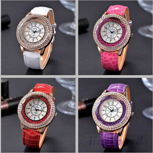 $1.17 - 1 US Luxury Diamond Rhinestone Watch Women Casual Leather Quartz Wristwatch