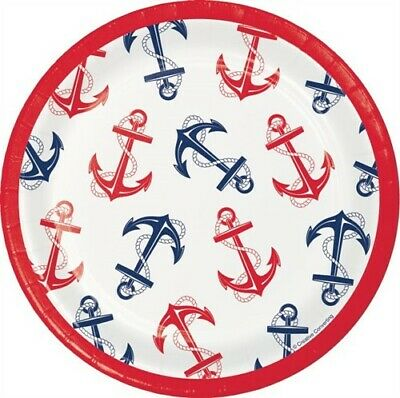Nautical Anchor 7 Inch Paper Plates 8 Pack Nautical Boat Birthday Decoration - 7 Inch Paper Plates