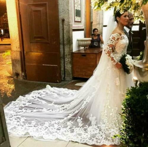 Cathedral Wedding Bride Veils Lace Applique With Comb Bridal White Ivory 1 layer