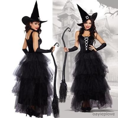 Damen schwarzes Hexenkostüm Frauen Karneval Party kostüme Hexe Fancy Dress+Hut -