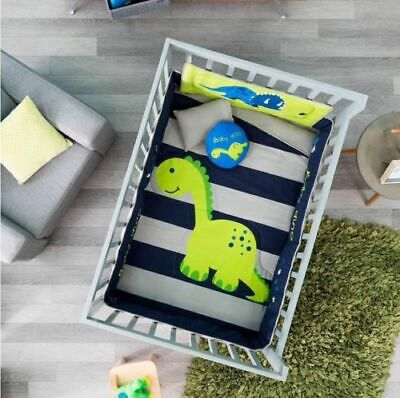 NEW Baby Cute Green Blue Dino Dinosaur Boy Crib Bedding Nursery Set 6PC