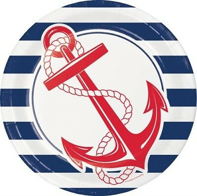 Nautical Anchor 9 Inch Paper Plates 8 Pack Nautical Boat Birthday Decoration (Nautical Paper Plates)