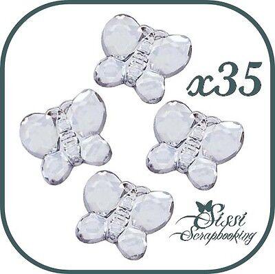 Lote 35 Mariposas Estrás para Pegar Scrapbooking Cristal