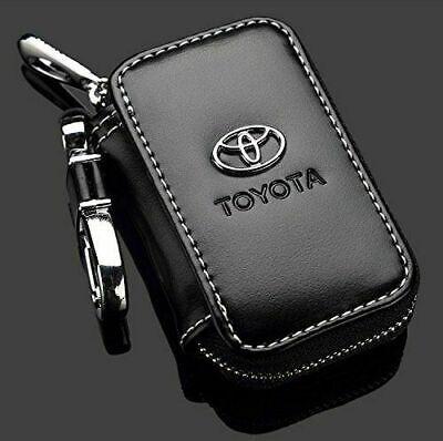 Toyota Black Premium Leather Car Key Chain Coin Holder Zipper Case Remote Wallet