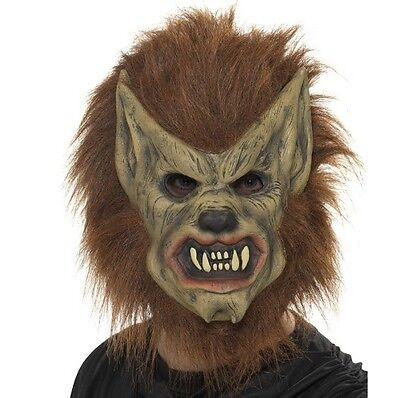Halloween Kostüm Bequem Schaum Maske Werwolf Braun Neu von Smiffys