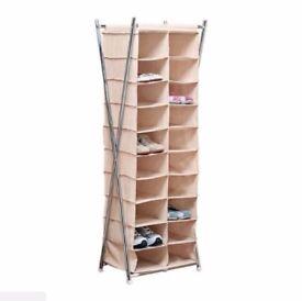 new boxed canvas metal frame 20 pocket shoe storage unit