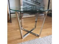 Round Glass Side Table Small Coffee Table with Chrome Legs NEW