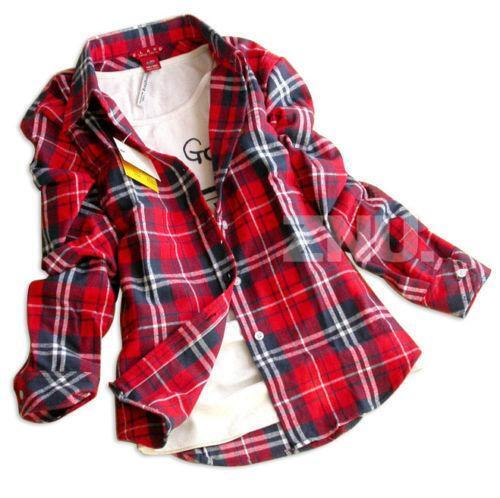 blue and red plaid flannel shirt for women
