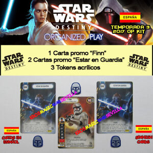 STAR-WARS-DESTINY-2017-T3-OP-KIT-ESPANOL-Finn-2-Estar-en-Guardia-3-Tokens