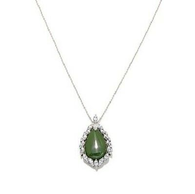 """Jade of Yesteryear Pear Shaped Green jade and CZ Pendant with 18"""" Chain"""