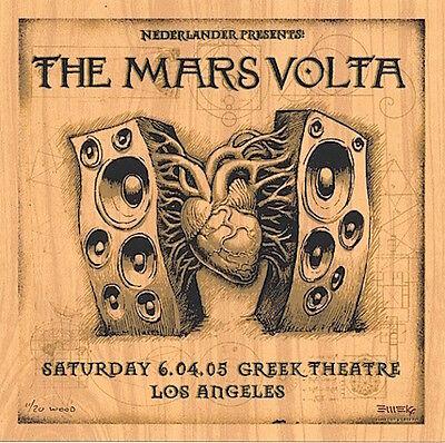 RARE Emek Mars Volta 2005 SIGNED Los Angeles WOOD Handbill 11/20