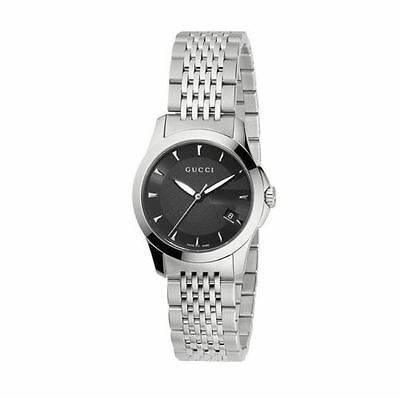 New Gucci G-Timeless Black Dial Stainless Steel YA126502 Ladies Watch