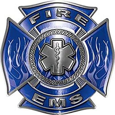 "Firefighter EMS Star of Life Maltese Cross Decal  in Blue 6"" REFLECTIVE FF16"