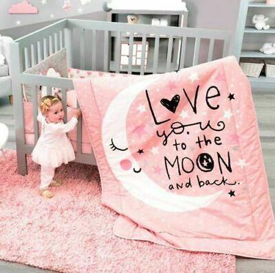 Pink Baby Bedding (NEW Baby Coral Pink White Moon & Stars Girl Crib Bedding Nursery Set)