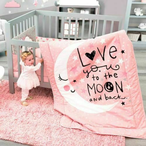 NEW Baby Girl Coral Pink Love You to the Moon And Back Crib Bedding Nursery Set