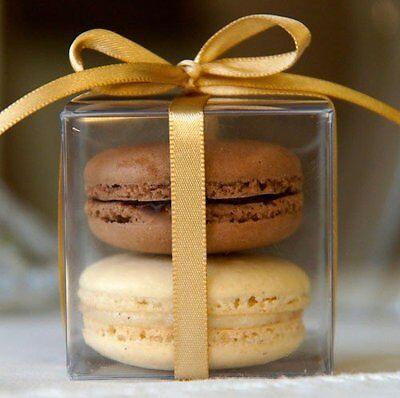 50pc 5cm Clear Macaron Square Boxes Bomboniere Wedding Favour Baby - Macaron Favor Boxes