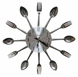 Kitchen Wall Clock Spoon & Fork Cutlery Decorative Sliver by Comfort Home 3D USA
