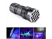 BLACK LIGHT 21 LED UV GHOST FLASHLIGHT TORCH SUPER BRIGHT LEDs LAMP ULTRA VIOLET